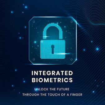 Integrierte biometrie-technologievorlage mit schlosssymbol