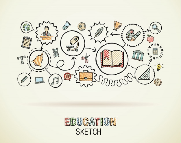 Integrierte symbole der bildungshandzeichnung auf papier gesetzt. bunte skizze infografik kreis illustration. vernetzte doodle-piktogramme, soziale, e-learning-, lern-, medien- und wissensinteraktive konzepte