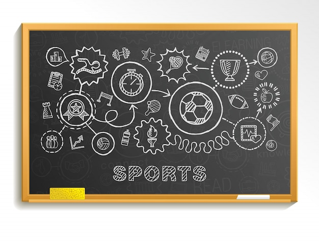 Integrierte symbole der sporthandzeichnung auf der schulbehörde. skizze infografik illustration. verbundene gekritzelpiktogramme, schwimmen, fußball, fußball, basketball, spiel, fitness, aktivitätskonzept