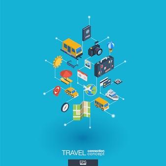 Integrierte web-symbole für reisen. isometrisches interaktionskonzept für digitale netzwerke. verbundenes grafisches punkt- und liniensystem. hintergrund mit tourenkarte, hotelbuchung, flugticket. infograph