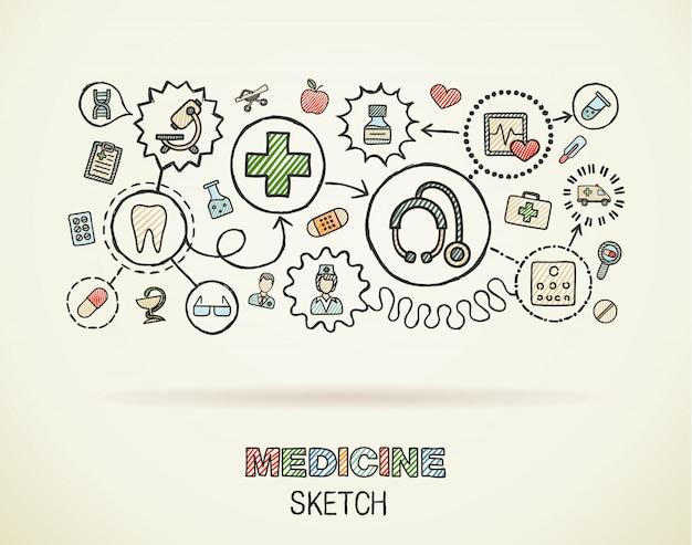 Integrierter symbolsatz der medizinischen handzeichnung auf papier. bunte skizze infografik illustration. verbundene doodle-farbpiktogramme, interaktives konzept für gesundheitswesen, arzt, medizin, wissenschaft und apotheke