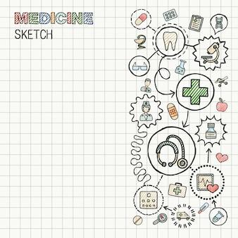 Integrierter symbolsatz der medizinischen handzeichnung auf papier. bunte skizze infografik illustration. verbundene doodle-farbpiktogramme. interaktives konzept für gesundheitswesen, arzt, medizin, wissenschaft und pharmazie