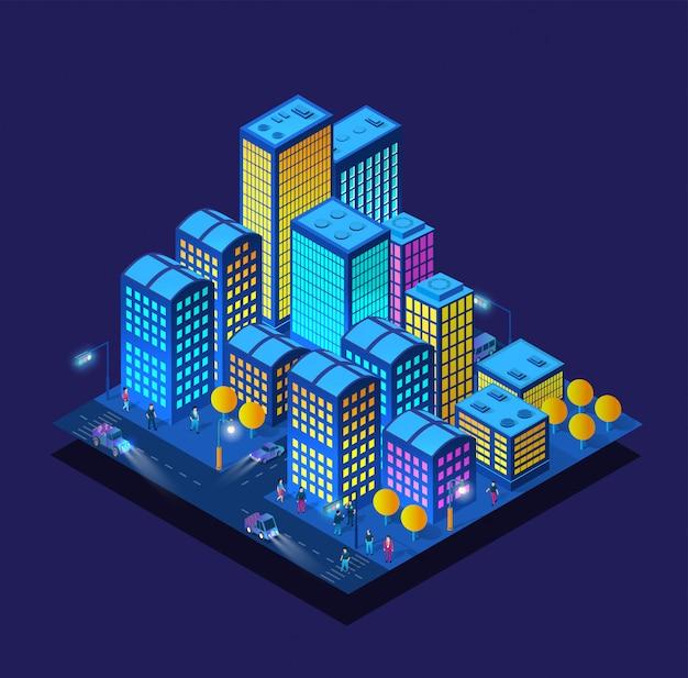 Intelligente 3d-illustrationsstadt auf einem lila ultravioletten