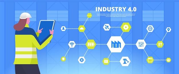 Intelligente banner-vektorvorlage für die industrie. fabrikarbeiterin. modernes fertigungssteuerungsnetzwerk