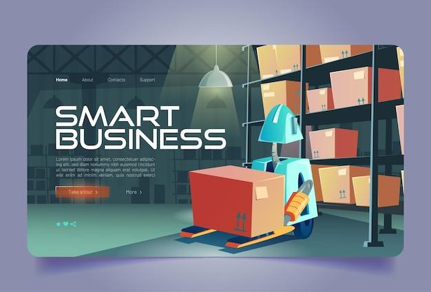 Intelligente business-cartoon-landingpage-gabelstapler-roboter-ladebox im lagerinneren intelligentes protokoll...