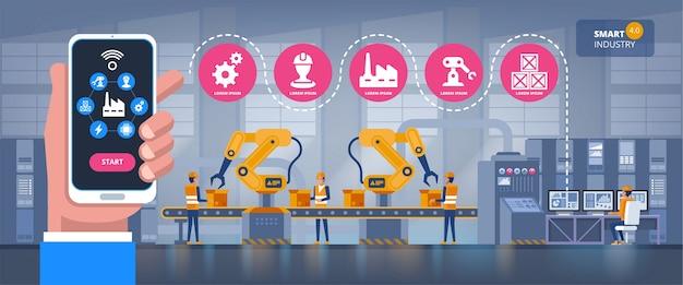 Intelligente fabrik. branchenüberwachungs-app auf einem smartphone und s