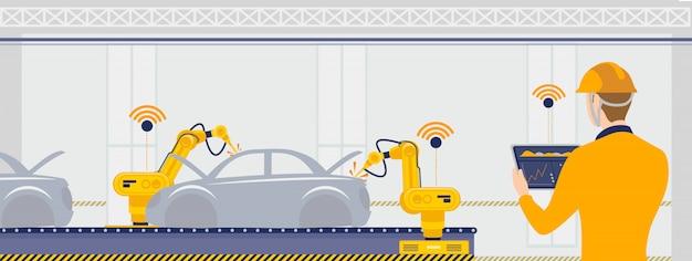 Intelligente fabrik mit arbeiter-, roboter- und fließband-automobilkonzeptillustration.