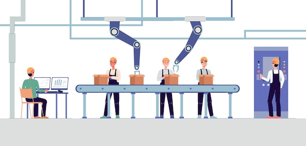 Intelligente fabrik mit automatisiertem kartonverpackungsförderband mit arbeitern und roboterarmen. futuristische technologie für die fertigungsindustrie -