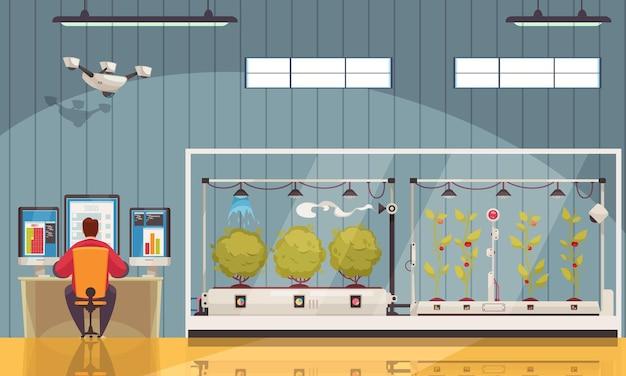 Intelligente farm mit innenansicht des gehöftgebäudes mit pflanzen in gewächshäusern und illustration der überwachungstafel