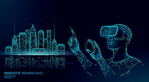 Intelligente gebäudeautomation mit niedriger poly-smart-city. vr helm augmented reality visualisieren kreationskonzept.