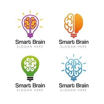 Intelligente gehirn logo vorlage