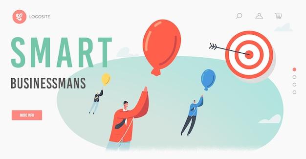 Intelligente geschäftsmänner-landing-page-vorlage. geschäftsfiguren auf ballons, die zum fernen ziel fliegen. zielerreichung, hindernisse überwinden, mission herausforderung, lösung. cartoon-menschen-vektor-illustration
