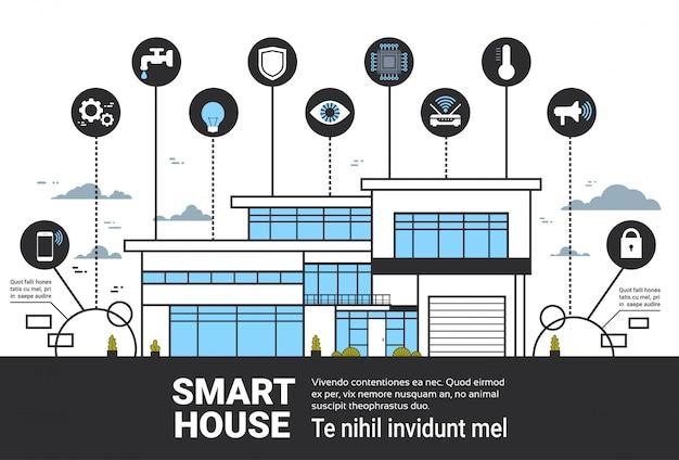 Intelligente haus-infografiken-ikonen stellten moderne hauptkontrollsystem-schnittstellen-technologie-fahne ein