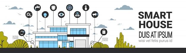 Intelligente haus-infografiken-ikonen stellten moderne hauptkontrollsystem-schnittstellen-technologie-horizontale fahne ein