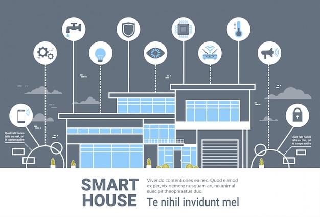 Intelligente haussteuerungssystem-schnittstellen-infografiken-moderne haupttechnologie-ikonen-fahne