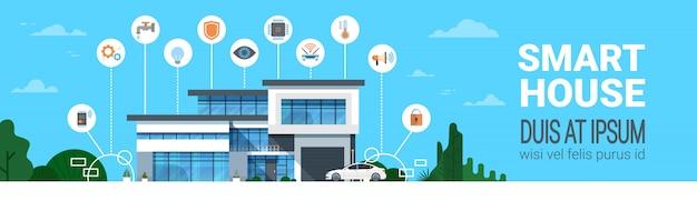 Intelligente haussteuerungssystem-schnittstellen-infografiken-moderne haupttechnologie-ikonen-horizontale fahne