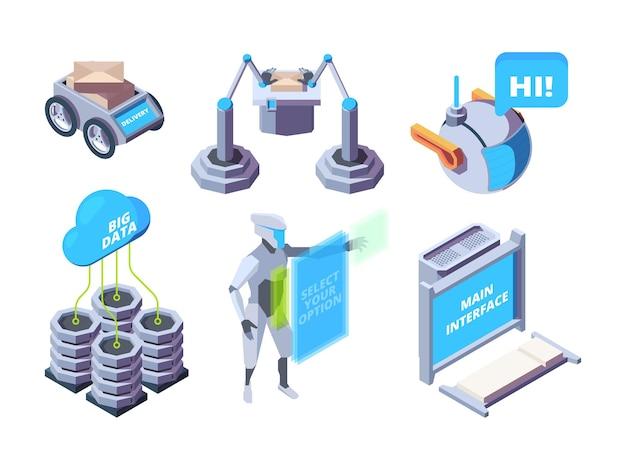 Intelligente industrie. roboterprozesse automobilmaschinenbau isometrischer satz vektoranlagen. industriefabrik, moderne fertigungsausrüstung illustration