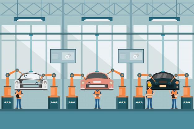 Intelligente industriefabrik im flachen stil