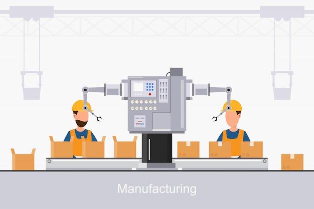 Intelligente industrielle fabrik in einem flachen stil mit arbeitern, robotern und fließbandverpackung