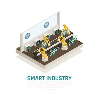 Intelligente industriezusammensetzung mit isometrischer illustration der fördertechnologiesymbole