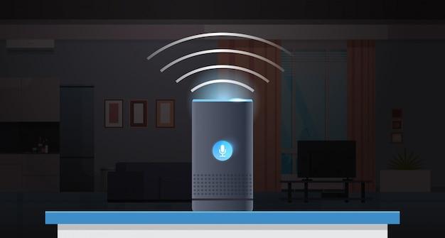 Intelligente intelligente lautsprecher spracherkennung aktiviert digitale assistenten automatisiert befehlsbericht konzept moderne wohnung küche wohnzimmer innenraum flach horizontal