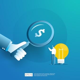 Intelligente investition in den technologie-start. angel investor business analytic. gelegenheitsideen-forschungskonzept mit lampenglühbirne und geschäftsmanncharakterelement.