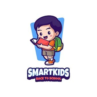 Intelligente kinder zurück zu schule maskottchen logo design
