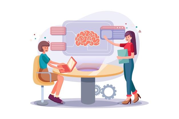 Intelligente kollegen, die an einem intensiven brainstorming-prozess teilnehmen