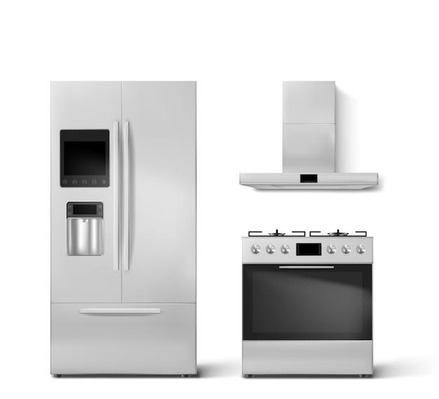 Intelligente küchengeräte mit kühlschrank, gasherd und dunstabzugshaube