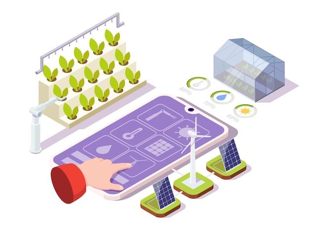 Intelligente landwirtschaft vektor isometrische illustration fernbedienung organische gewächshaus iot ai technologien in...