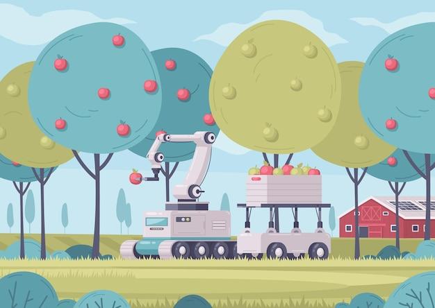 Intelligente landwirtschafts-cartoon-komposition mit gartenlandschaft im freien mit wirtschaftsgebäuden und roboterkarren