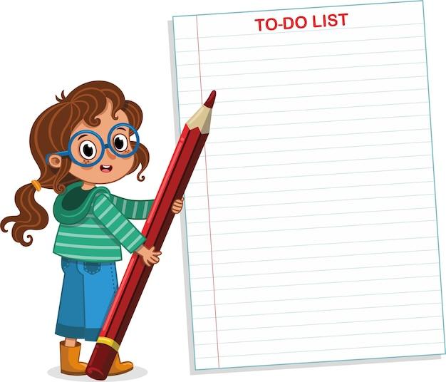 Intelligente mädchen to do-liste vektor-illustration