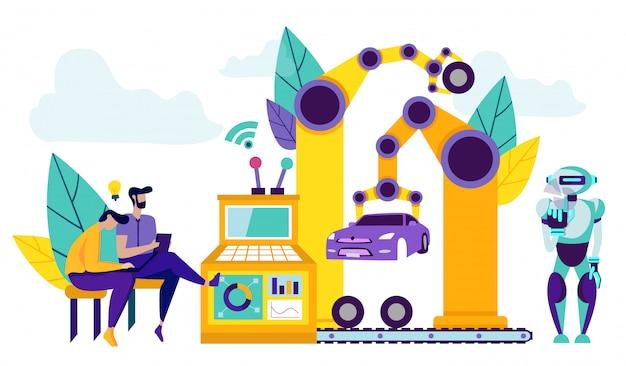 Intelligente roboter in der fertigungsstraße für die automobilmontage.