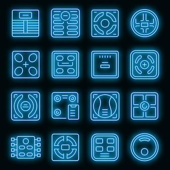 Intelligente skalensymbole eingestellt. umrisse von intelligenten skalenvektorsymbolen neonfarbe auf schwarz