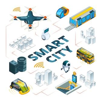 Intelligente stadt 3d. urban zukunftstechnologien intelligente gebäude und sicherheitsfahrzeuge drohnen autos lieferung transport isometrische bilder