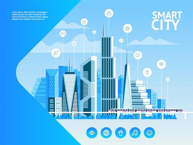 Intelligente stadt. stadtlandschaft mit infografik-elementen. moderne stadt. konzept-website-vorlage.