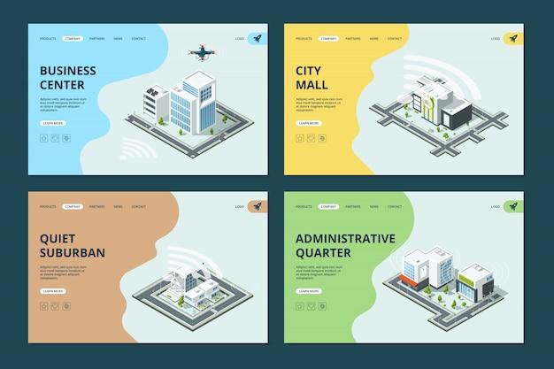Intelligente stadt. website landing pages vorlage mit isometrischen stadtlandschaften architekturen design