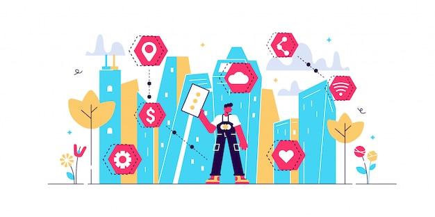 Intelligente stadtillustration. winziges städtisches stadtdatenerfassungspersonenkonzept. mobile drahtlose kommunikation mit der städtischen wasser-, verkehrs- und energieinfrastruktur. futuristische sensorinnovation.