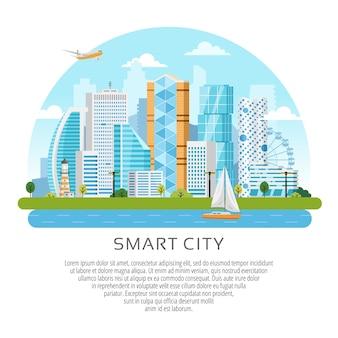 Intelligente stadtlandschaft im runden stil mit gebäuden, wolkenkratzern und flussverkehr