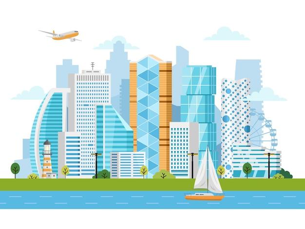 Intelligente stadtlandschaft mit gebäuden, wolkenkratzern und flussverkehr