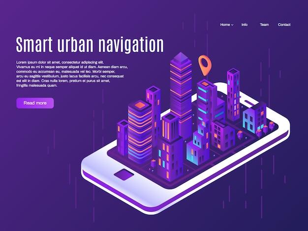Intelligente städtische navigation. stadtflugzeugansicht über smartphoneschirm, gebäudestadtstraßenplan und stadtplanvektorlandungsseitenkonzept