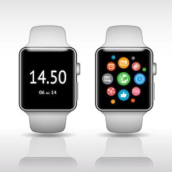 Intelligente uhr mit app-symbolen auf weißer hintergrundvektorillustration