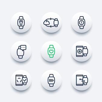 Intelligente uhrlinie ikonen eingestellt