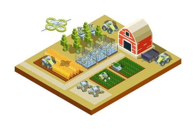 Intelligente wirtschaftsgebäude. große haushaltslandwirtschaftsmaschinen füttern traktoren erntemaschinen arbeitsfeld automatische steuerung isometrisch.