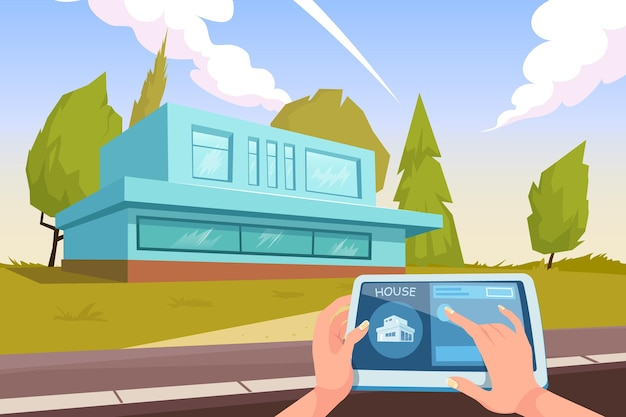 Intelligente wohnungskomposition des hauswächters mit außenansicht des hauses mit fernbedienungs-app für tablet