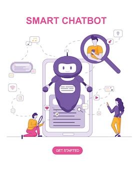 Intelligenter chatbot für konversationsleute, suchend