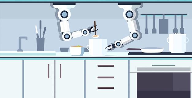 Intelligenter handlicher kochroboter, der gemüsesuppe im pfannenroboterassistenten-innovationstechnologiekonzept der künstlichen intelligenz des modernen kücheninnenraums horizontal vorbereitet