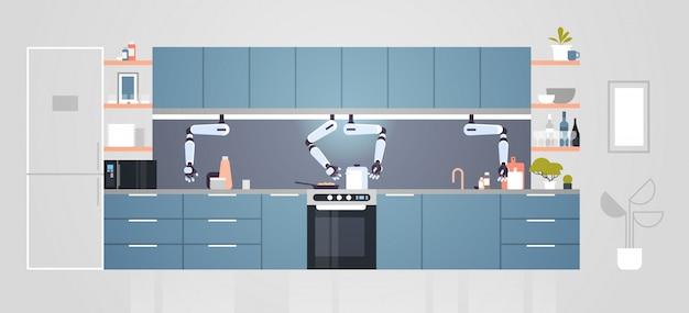Intelligenter handlicher kochroboter, der lebensmittelroboterassistent innovationstechnologie-konzept der künstlichen intelligenz des modernen kücheninnenraums flach horizontal vorbereitet