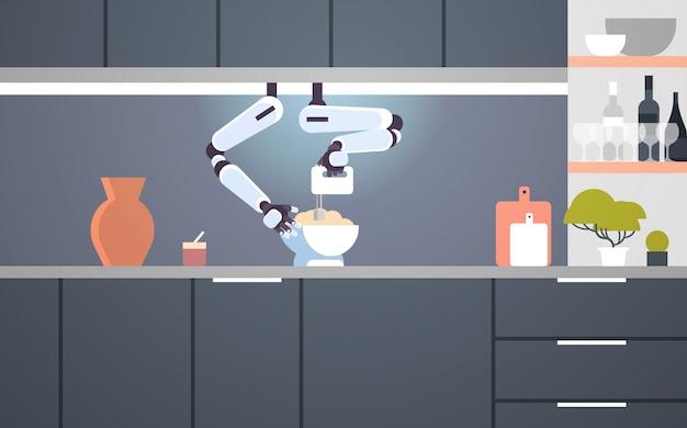 Intelligenter handlicher kochroboter, der mischer verwendet, der teig in schüssel zum backen des roboterassistenten-innovationstechnologie-künstlichen intelligenzkonzepts modernes kücheninnenraum flach horizontal knetet