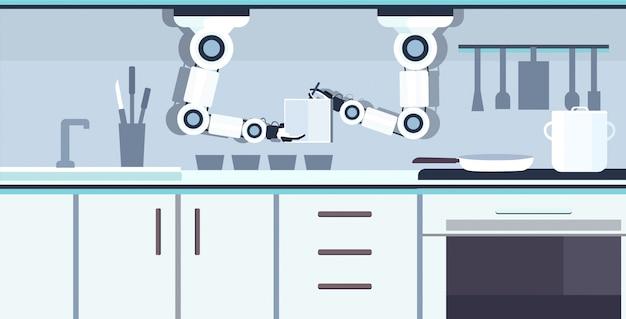 Intelligenter handlicher kochroboter, der notizbuch hält rezeptrezept roboterassistent innovationstechnologie künstliche intelligenz konzept moderne küche innen horizontal